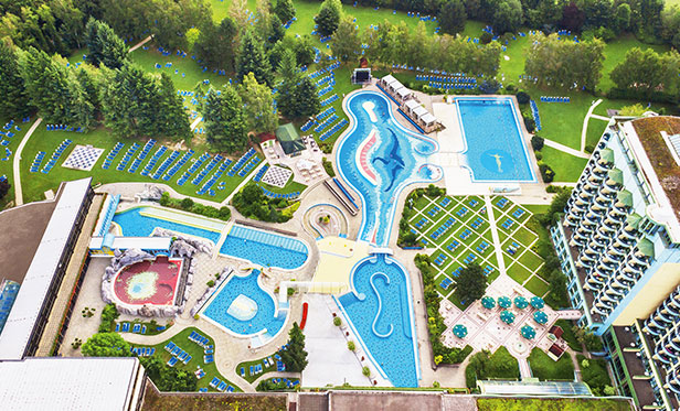 Aerial view of the Johannesbad thermal spa in Bad Füssing